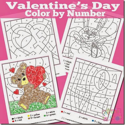 Valentines color by number! These free printable worksheets are so cute and perfect for Toddler, Preschool, and Kindergarten age kids!