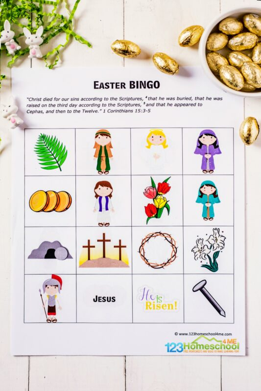 Easter Games for Kids - free printable religious bingo game for toddlers, preschoolers, pre k, and kindergartners to use with parents, sunday school teachers, homeschoolers, and family gatherings in April #eastergames #easterprintables #easterforkids