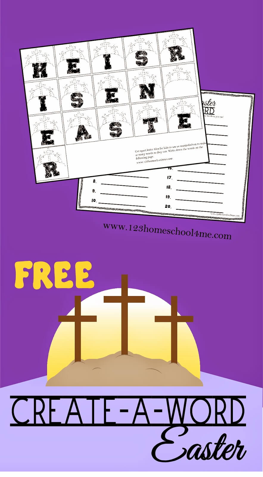With Easter right around the corner, we decided to add some Eater themed learning to our homeschool! Theseeaster spelling activities are a fun, engaging way to practice spelling with a simple easter worksheet for kids from first grade, 2nd grade, 3rd grdae, 4th grade, 5th grade, and 6th grade students. This cross he is risen Easter printable is perfect for working on spelling with your homeschooler. Simply download pdf file withfree easter workheetsand you are ready to play and learn!