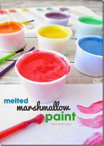 Marshmallow Paint Recipe - This recipe is AWESEOME!! Beautiful colors, nice and thick, great sheen, and completely safe and edible for Toddler, Preschool, Kindergarten, and elementary age kids!