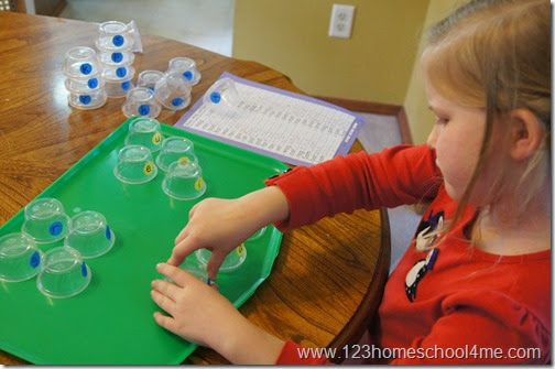 practice spelling words with mini cups