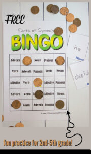 Free Parts of speech BINGO game for students to practice grammar with a fun activity for 2nd grade, 3rd grade, 4th grade, 5th grade, and 6th grade.