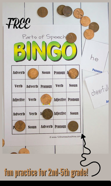 FREE Parts of Speech Game - this is such a clever, fun activity to help kids review nouns, verbs, adjective, adverb, and pronoun parts of speech! This printable is way better than a worksheet at helping kids review in elementary and 2nd grade.