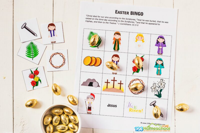 free printable Resurrection Bingo for toddlers, preschoolers, kindergartners, first graders, 2nd graders, 3rd graders and 4th graders