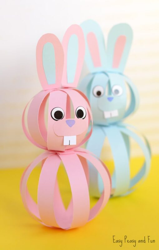 paper ball bunny craft for kids