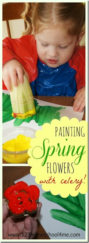 Painting Spring Flowers with Celery for Toddler, Preschoolers, and Kindergarten. Lots of clever ideas in this fun, playful idea!