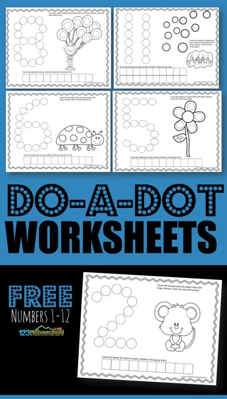 FREE Do a Dot Worksheets - students will use bingo markers, bingo daubers, markers or crayons to practice counting with a ten frame with these SUPER CUTE math worksheets for toddler, preschool, prek, and kindergarten age kids