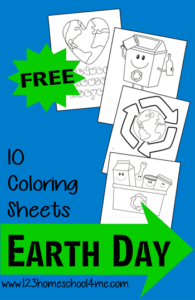 Free Earth Day Coloring Pages - These are perfect for Earth Day, teaching kids about recycling and so much more. Toddler, Preschool, Kindergarten, 1st grade, and more!