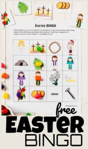 FREE Easter Bingo - super cute free printable easter game that helps kids learn the true story of Easter and Jesus, work on visual discrimination, and as a fun easter activity for toddlers, preschoolers, pre k, kindergartners, first graders, 2nd graders, 3rd grders, and 4th graders. #easterprintable #eastergames #sundayschool #preschool #kindergarten
