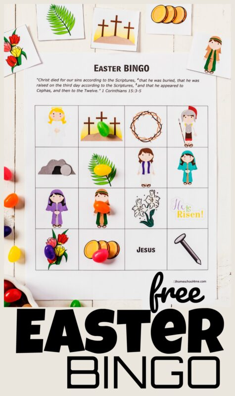 Your kids will love this Easter bingo! This Easter Activity for kids is perfect for at home, in a classroom, or as part of a Sunday School Lessons for kids from toddler, preschool, pre-k, kindergarten, first grade, 2nd grade, 3rd graders, and 4th graders too. Children will learn parts of the Easter story such as the empty bomg, Jesus, white lily, nail, soldier, angel, and more with this Easter Game for kids. Simply download pdf file with easter bingo printable and you are ready to play!