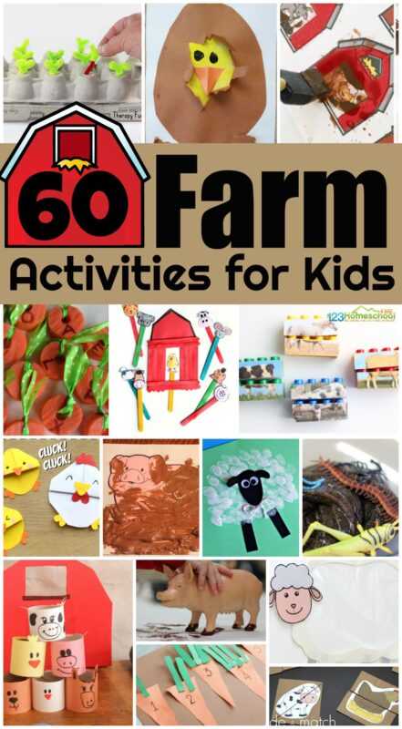60 farm activities for kids - so many fun, clever, and unique kids activities with farm animals, barns, growing food, etc. Perfect for sprint or summer activities for toddler, preschool, kindergarten, first grade, and up for a farm unit #farm #craftsforkids #kindergarten