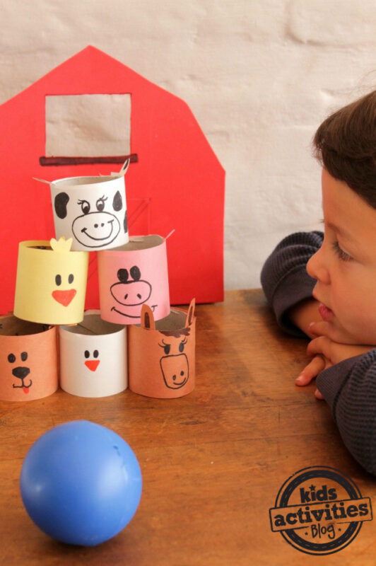 This cute farm animal bowling is both a craft and an activity all in one