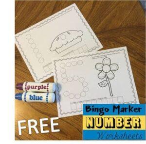 Bingo Marker Number Worksheets