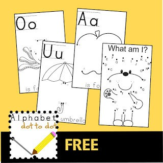 super cute simple free dot to dot printable to help toddler, preschool, prek and kindergarten practice ABC