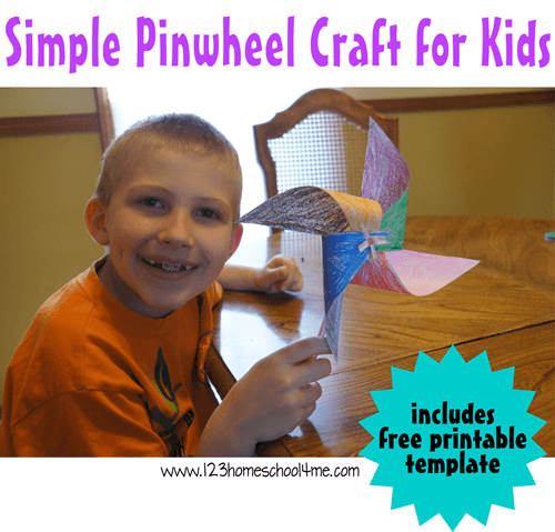 Simple paper pinwheel is a fun spring or summer craft for kids and uses a free pinwheel craft template #craftsforkids #toddlercrafts #preschoolcrafts