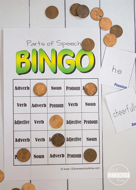 FREE Parts of Speech BINGO