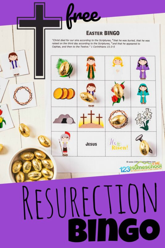 FREE Printable Resurection BINGO - super cute easter game for kids of all ages to play in April. #easterbingo #eastergames #jesus