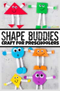 These adorable shape buddies are a fun way to help early learners work on shape recognition while having fun! Thisshape craft for preschoolers allows toddler, preschool, pre-k, and kindergarten age kids work on shape matching. They will also work on color recognition at the same time as they complete thisshape craft activity. So grab some constrution paper, googly eyes, scissors, and you are ready to try thispreschool shape activities and crafts!