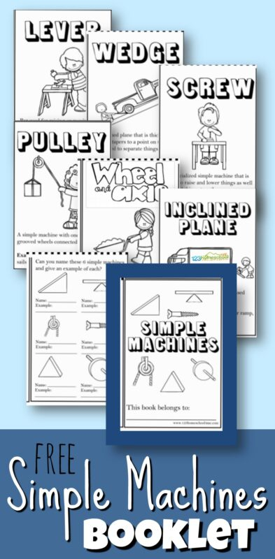 FREE Simple Machines Booklet - turn this one page black and white worksheet into a booklet to teach kids about simple machines #simplemachines #scienceforkids #homeschooling