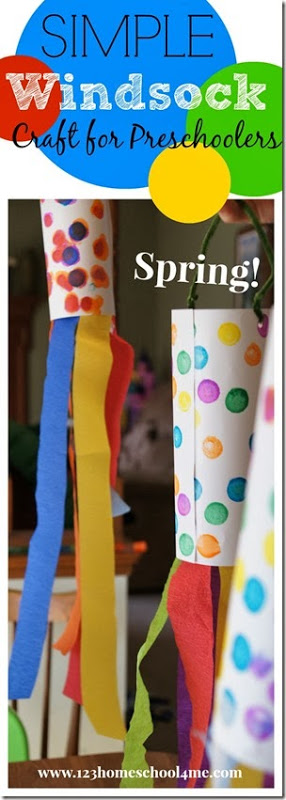 Here is a simple, easy to make windsock craft for kids to make as they celebrate the arival of spring! This wind sock craft is fun for toddler, preschool, pre-k, kindergarten, and first grade students to make. Your kids will love making this brigh and cheery paper windsock craft with stremers and do a dot markers. It is a wonderful spring craft for preschoolers.