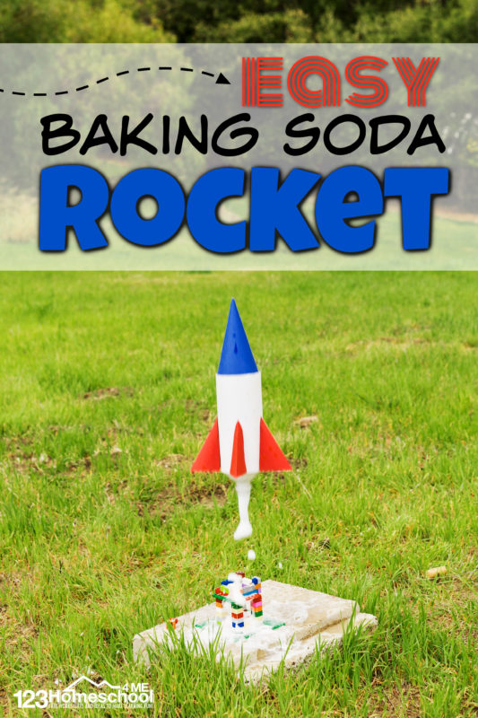 Vinegar and baking soda rocket is fun AND educational summer activity for kids! See how to make a bottle rocketproject that rises 30-50 feet!