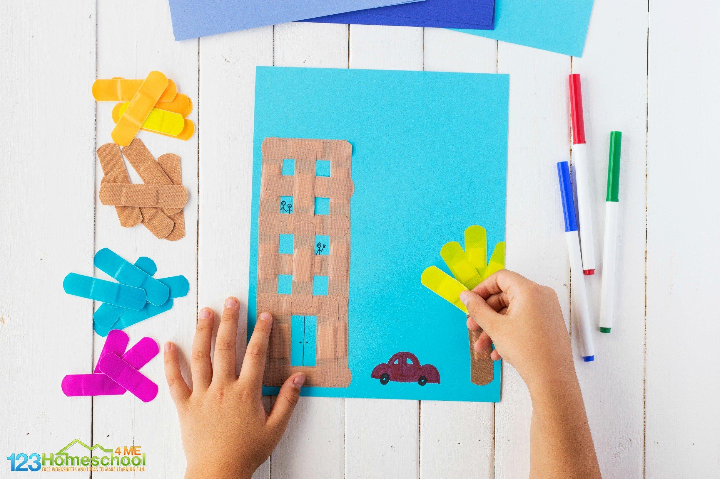 super cute Bandage Art project with toddler, preschool, pre-k, kindergarten, first grade, and 2nd grade children