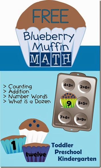 Blueberry Muffin Math - FREE Printable math games for counting, addition, number words for toddler, preschool, and kindergarten age kids