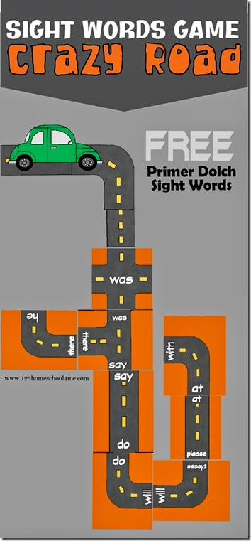Crazy Roads Sight Words Game is a really fun, hands on sight word game for Kindergarten age kids to practice Primer Dolch Words. Great for older kids to review sight words too. Free Printable game for Homeschool!