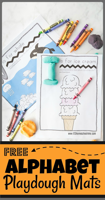 FREE Alphabet Playdough Mats - these free printable alphabet printables are SO CLEVER! Use playdough to form alphabet letters and then complete the picture with playdough or by coloring for a fun activity to not only learn the alphabet, but to strengthen fine motor skills to for toddler, preschool, prek, kindergarten, and first grade.