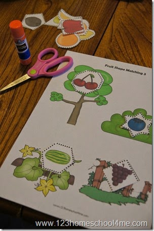 Fruit and Vegetable Shape Practice for Kids