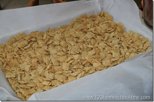 lay out chex on parchment lined sheet