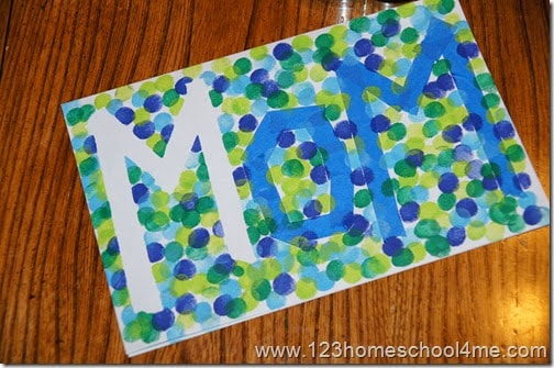 super cute and easy to make, Mothers Day Cards for Kids to Make with painters tape and a washable ink pad