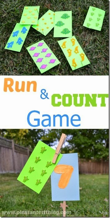 Outdoor Counting Game - This is such a fun summer activity for kids to help them practice counting! Add to Summer Bucket List!