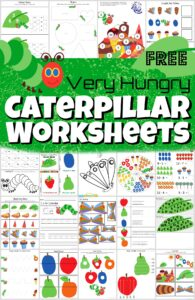 Grab this HUGE pack of the very hungry caterpillar worksheets to help kids will have fun practicing their letters, counting, using scissors, adding, telling time, and so much more. These free preschool worksheets are super cute and such a fun book based activity is perfect to sneak in some fun math and listeracy practice with a cute, hungry caterpillar worksheets. These happy caterpillar themed pages are perfect for toddler, preschool, pre-k, kindergarten, first grade, and 2nd grade students. Simply download pdf file with caterpillar worksheets and you are ready for spring and summer themed worksheets.
