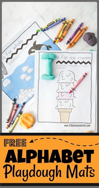 Kids love to play with playdough! Combine playdough and learning letters with these super cute alphabet playdough mats where children they will be encouraged to create and finish pictures while learning their alphabet letters. This alphabet printable activity is loads of fun to use with play doh and markers or crayons! Use this free alphabet printables with your toddler, preschool, pre-k, and kindergarten age child. Simply download pdf file with playdough letter mats and you are ready to play and learn with thisalphabet activity for preschoolers.