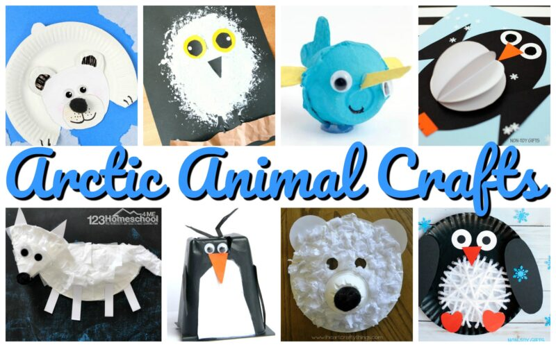 Super cute arctic animals for kids crafts including polar bear, whale, owl, arctic fox, penguin, and more!