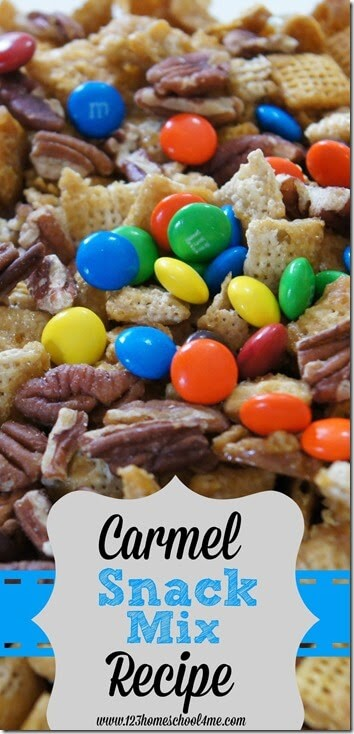 Your family will love making this caramel chex mix for a sweet twist on the classic chex mix snack. This caramel chex mix recipe includes chex cereal, pecans, m and ms, a homemade carmel sauce, and anything else you want to throw in for a yummy snack mix perfect for game night, movie, night, potlucks, parties, and more!