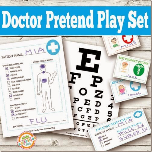 Dress up Doctor Playset Printables for Toddler, Preschool, Kindergarten, and elementary kids to PLAY