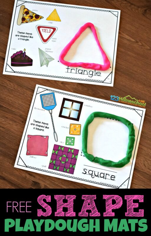 FREE Shape Playdough Mats are a fun way for hands on learning about shapes for kids. Each shape printable has real life shapes, space to build a shape out of playdough, and trace the shape name.
