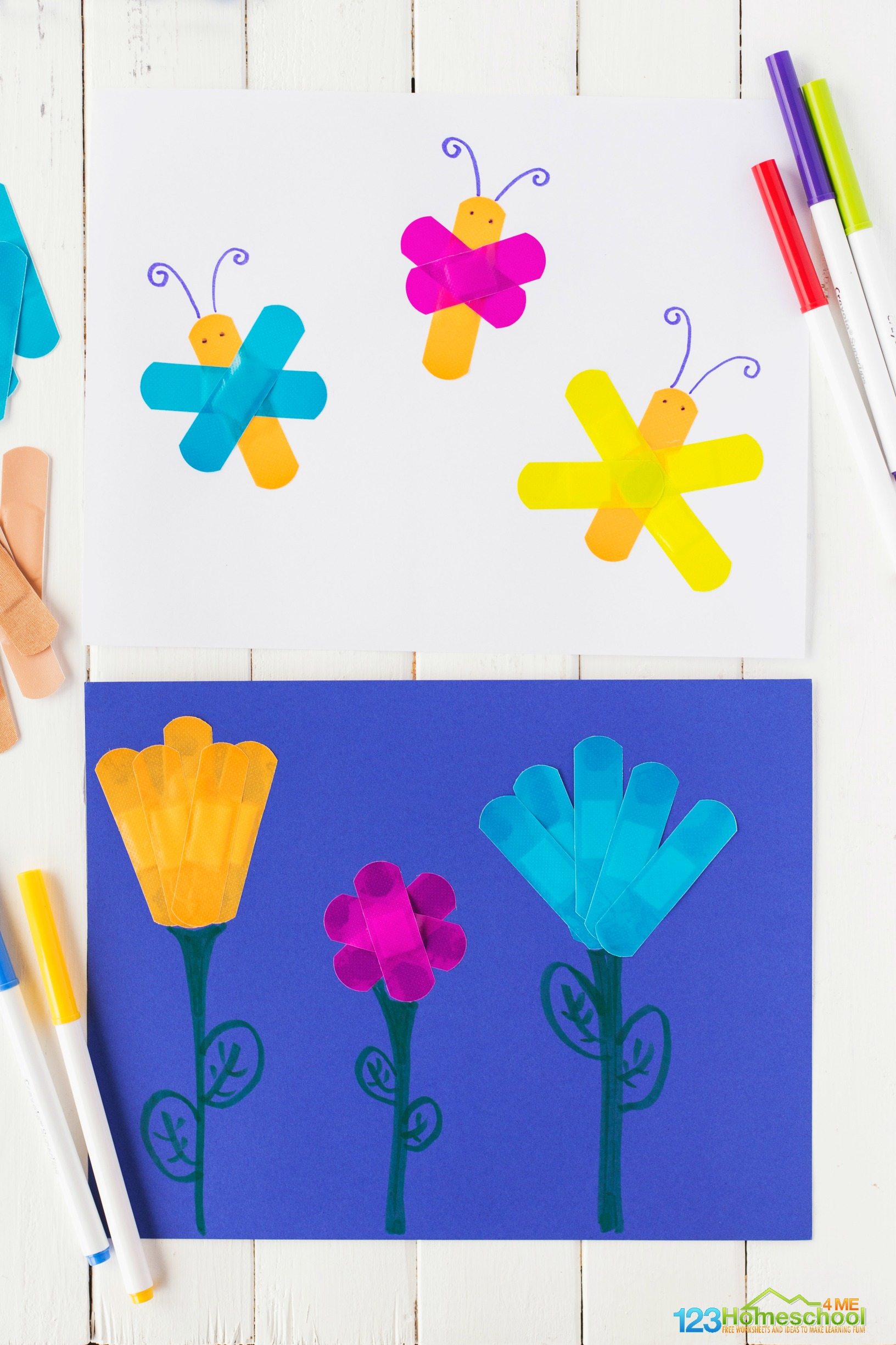 fun craft for preschoolers using bandaids to make butterflies, flowers, buildings, trees, trucks, and more!