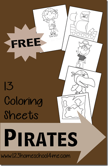 FREE Pirate Coloring Pages for Kids - These are so cute and perfect for a pirate theme, birthday party, or just for fun for toddler, preschool, and kindergarten age kids.