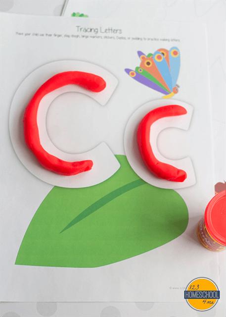 letter c, c is for caterpillar playdough letter free printable alphabet letter worksheets