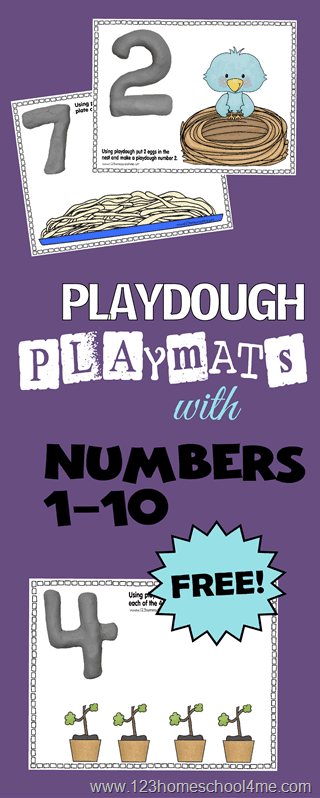 FREE Number Playdough Mats - super cute, engaging, and interactive math activity for preschoolers, toddlers, and kindergartners. Kids will use these play doh mats to form numbers, count to 10, follow directions, and strengthe fne motor skills #playdoughmats #numbers #preschoolmath #prek
