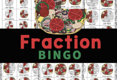 Practice fractions with Fraction Bingo! Pizza fractions is a fun fraction game for kids from one child to a group of 20 students. Download pizza printables!
