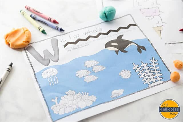 W is for whale playdough mats