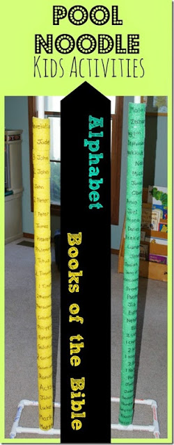 Pool Noodle Kids Activities - Help kids learn the alphabet or Books of the Bible with this fun, hands on idea using pool noodles! Preschool-3rd grade #booksofthebible #poolnoodle #alphabet