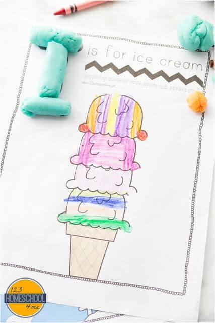 I is for ice cream printable alphabet mat to complete with crayons and playdough