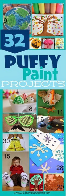 Kids will love making fun projects with these incredible puffy paint recipes! Come take a peak at over 30 puffy paint ideas for children of all ages from toddler, pre-k, preschool, kindergarten, and elementary age students in first grade, 2nd grade, and 3rd grade students.  These puffy paint crafts are fun all year long, as summer crafts, spring crafts, and easy crafts for kids!