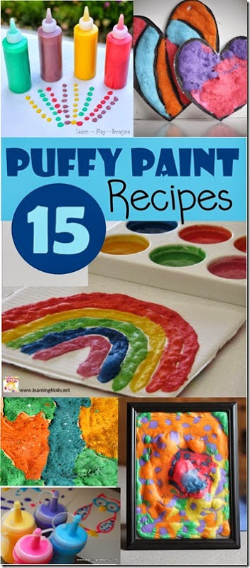 15 Puffy Paint Recipes - So many really creative and unique puffy paint recipes and 40 projects for kids of all ages. These crafts for kids are great for toddler, preschool, kindergarten, first grade, 2nd grade, 3rd grade, and 4th grade kids