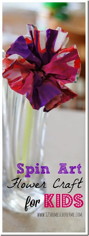 Spin Art Flower Craft for Kids - This is such a fun to make craft for kids that produces beautiful flowers for a toddler, preschool, kindergarten, and elementary age spring craft for kids.